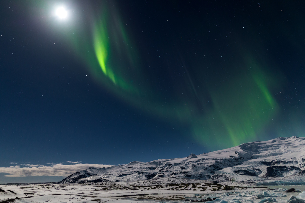 aurora at Fjallsarlon ice lagoon